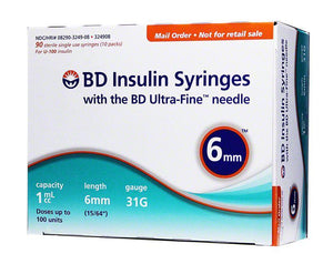 BD Insulin Syringes 1ml, 6mm, 31G 100 Count