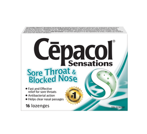 Cepacol Sensations Sore Throat & Blocked Nose 16 Lozenges