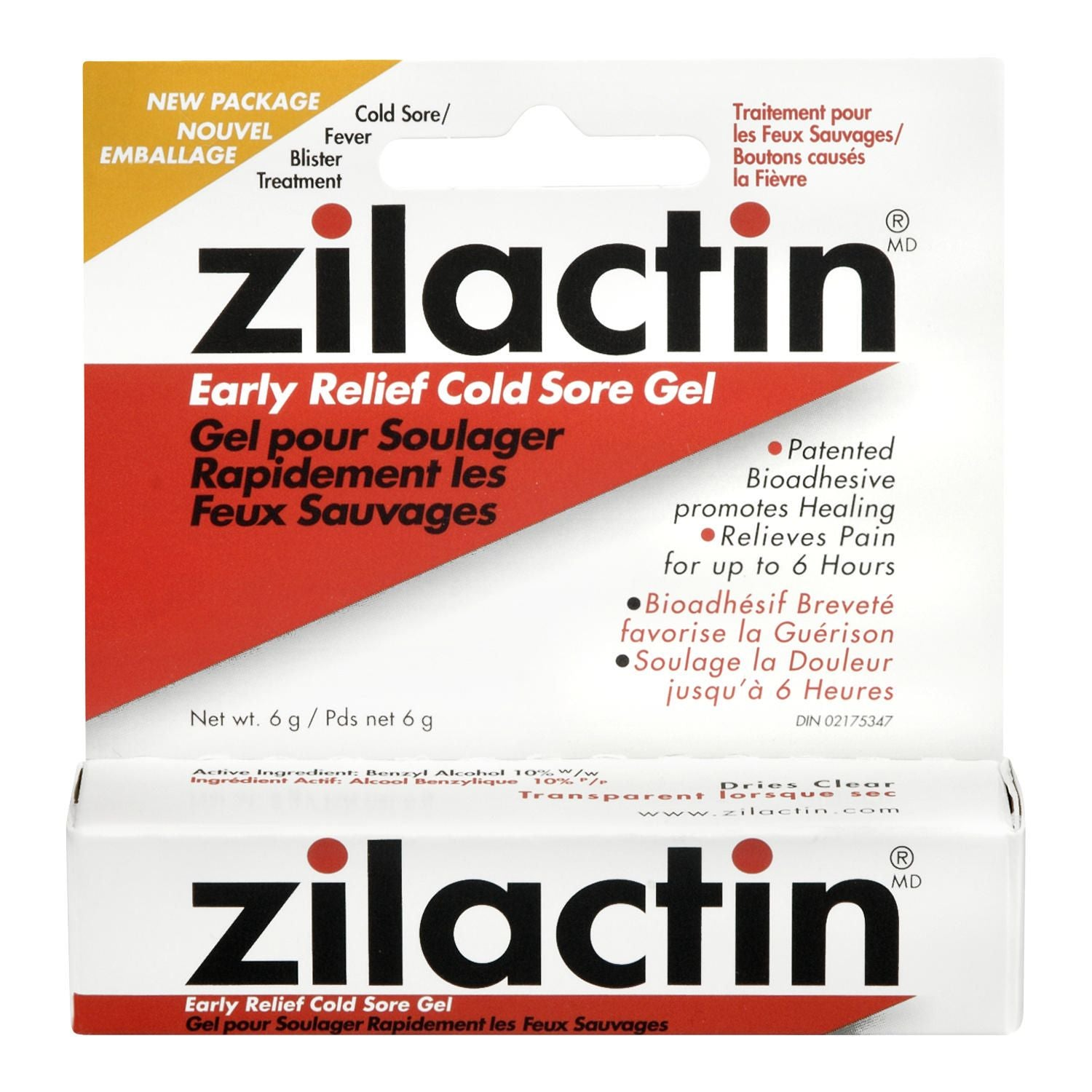 Zilactin Early Relief Cold Sore Gel 6g