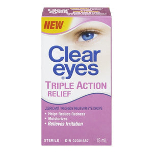 Clear Eyes Triple Action Relief Lubricant Eye Drops 15mL