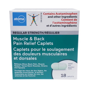 Atoma Muscle & Back Pain Relief Caplets Regular Strength 18 Caplets