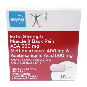 Atoma Extra Strength Muscle & Back Pain ASA 500mg 18 Caplets