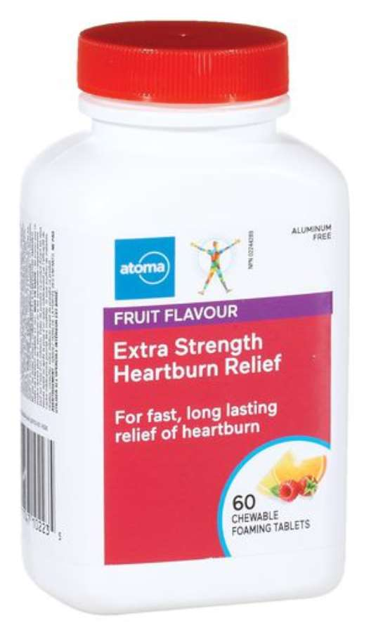 Atoma Extra Strength Heartburn Relief 60 Chewable Foaming Tablets