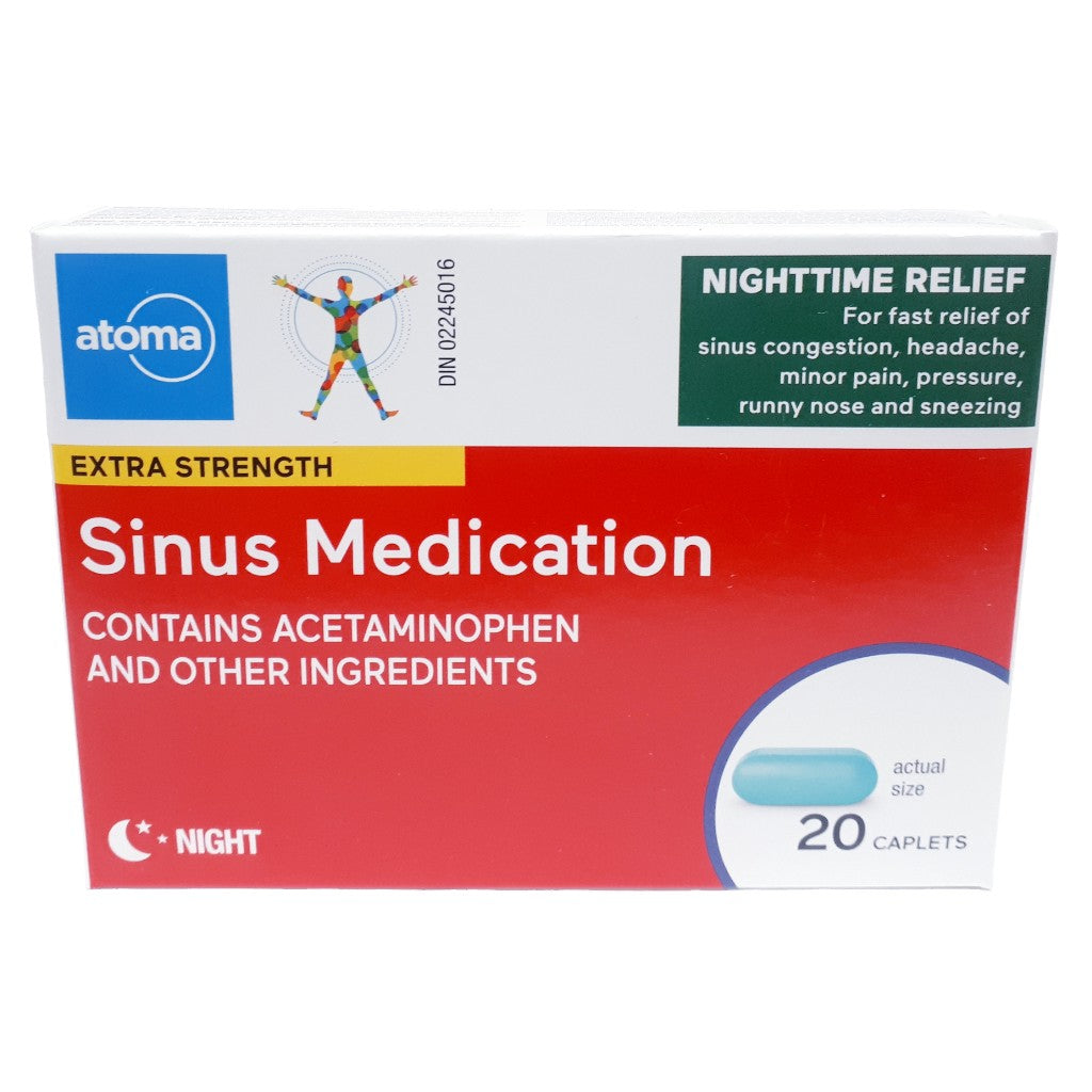 Atoma Extra Strength Sinus Medication Nighttime Relief 20 Caplets