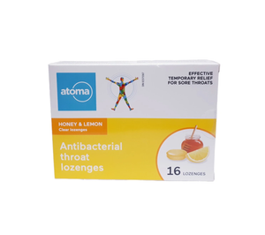 Atoma Honey & Lemon Antibacterial Throat Lozenges 16 Lozenges