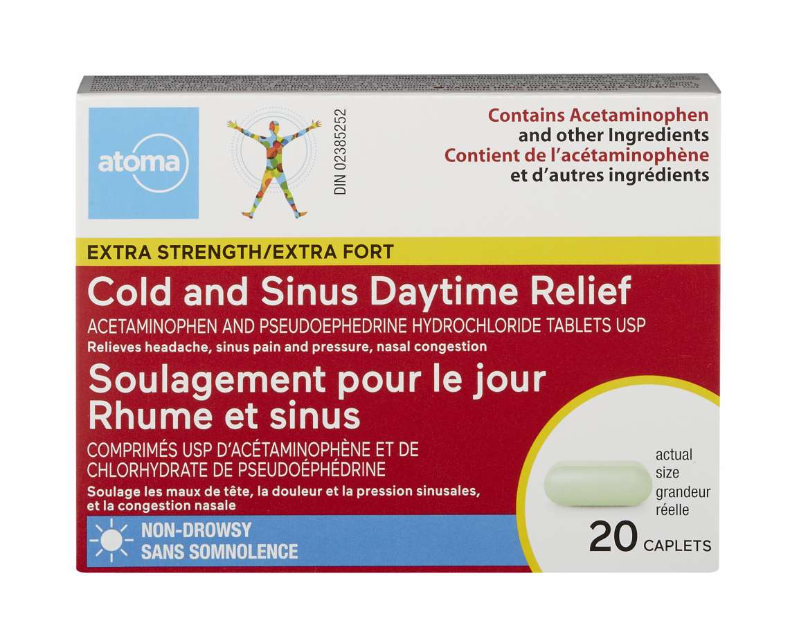 Atoma Extra Strength Cold and Sinus Daytime Relief 20 Caplets