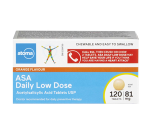 Atoma Orange Flavour ASA 81mg Daily Low Dose Chewable Tablets