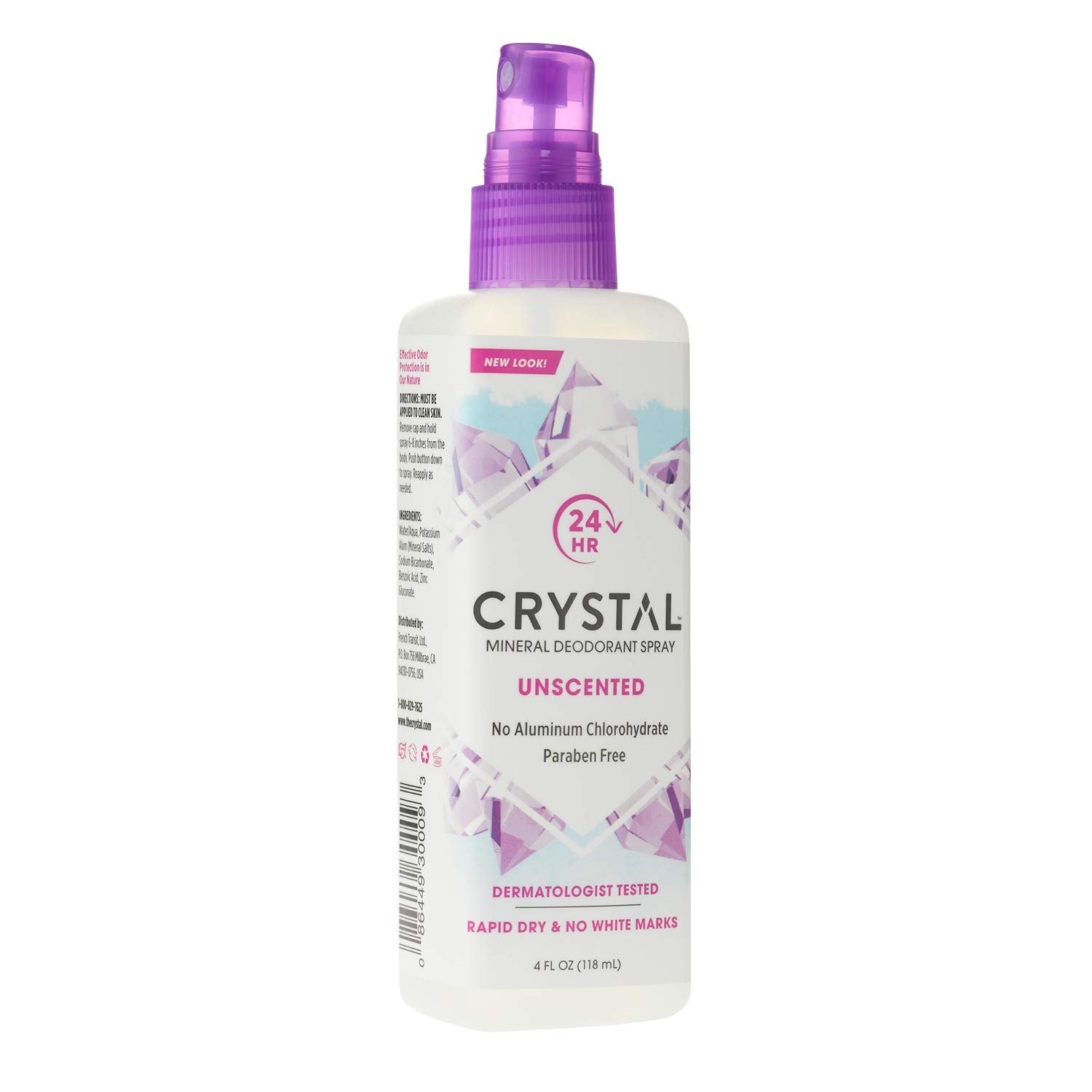 Crystal 24 hr Unscented Mineral Deodorant Spray 118mL
