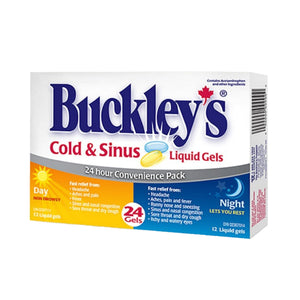 Buckley's Cold & Sinus Liquid Gels 24 Hour Convenience Pack 24 Gels (12 Day & 12 Night)