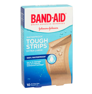 Band-Aid Waterproof Tough Strips Extra Large 10 Bandages