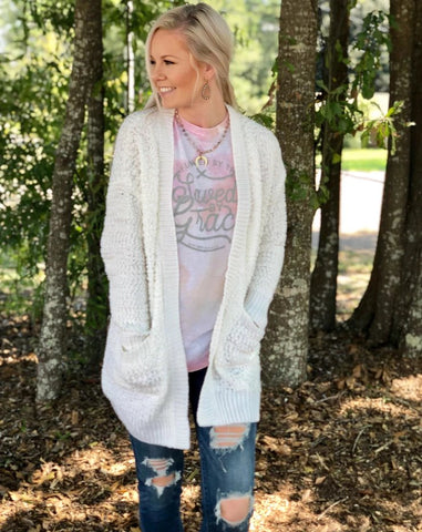 Winter White Popcorn Cardigan - Jessi Jayne Boutique