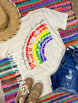 Every Little Thing Is Gonna Be Alright Rainbow Graphic Tee