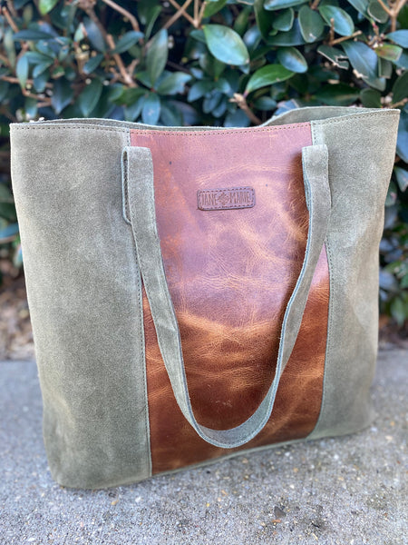 Jane Marie Hunter Green Leather & Suede Tote