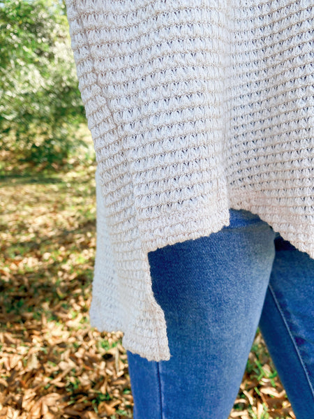 Kissed By Mist Oatmeal Waffle Knit Top