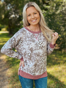 Life is Good Mauve Printed Long Sleeve Top Reg-Curvy