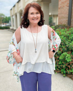 Myrtle Beach Oatmeal Linen Top Curvy Ladies