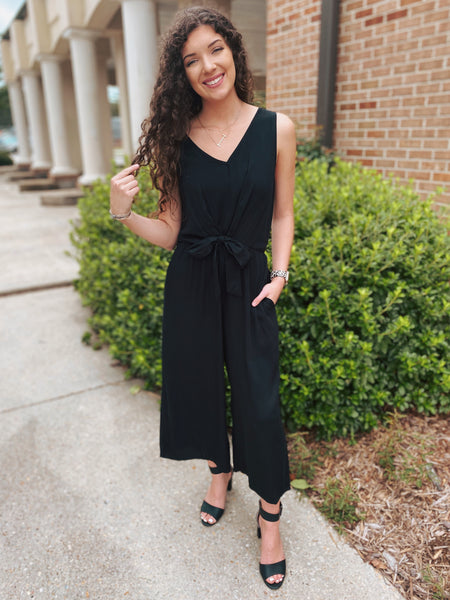 No Kidding Sleeveless Front Tie Jumpsuit