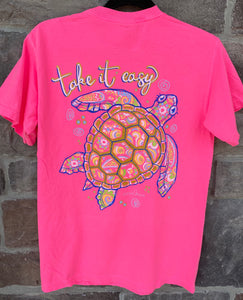 Take It Easy Hot Pink Short Sleeve T-Shirt - Jessi Jayne Boutique