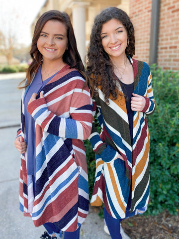First View Rust & Teal Striped Waffle Long Sleeve Cardigan (2 Colors)