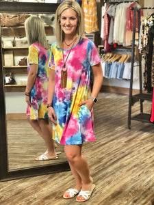 Twisted Colorful Tie Dye Dress Curvy & Regular - Jessi Jayne Boutique