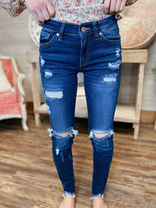 So In Love Distressed Mid Rise Skinny Jeans