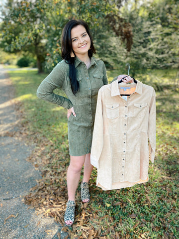 Extra Spicy Olive and Beige Corduroy Long Sleeve Dress