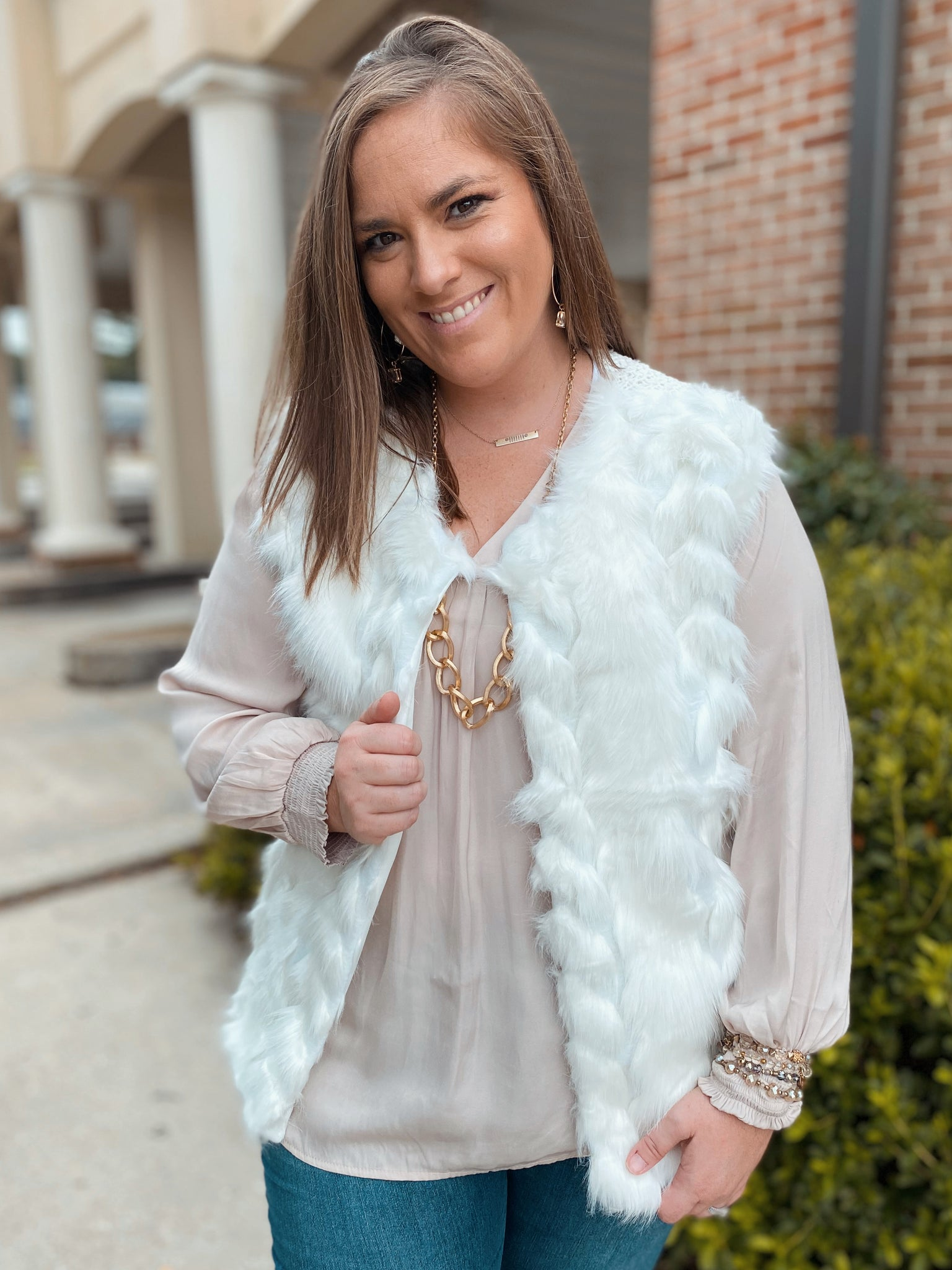 Winter White Fur Curvy Vest