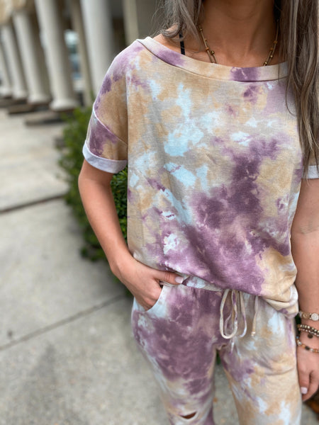 Eye Candy Purple Tie Dye Two Piece Jogger Set Curvy & Regular