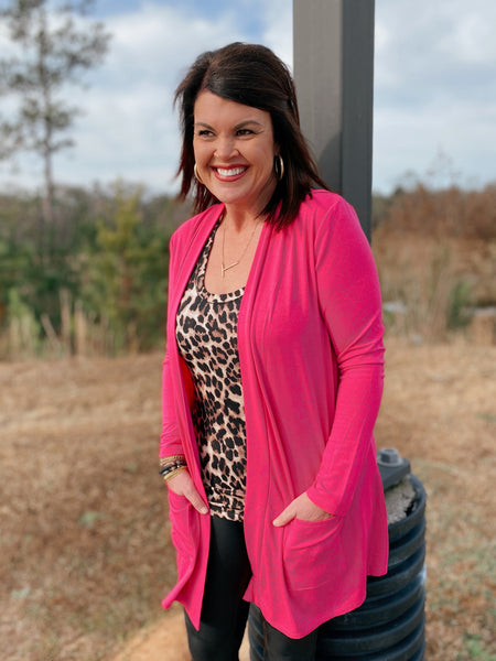 Bold Boundaries Pink Open Front Cardigan