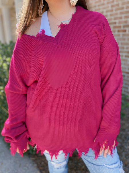 Blossom Child Magenta Distressed V Neck Sweater Curvy & Regular