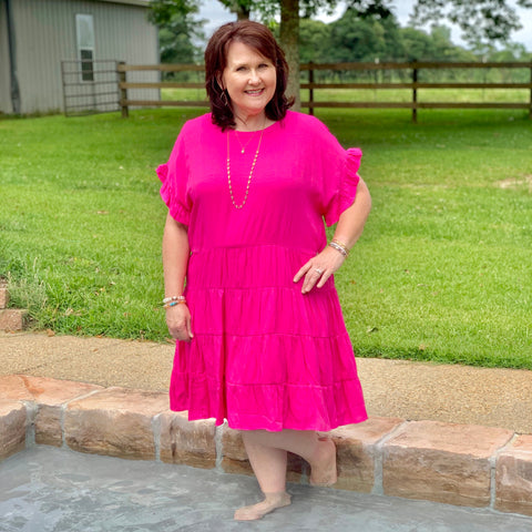 Ruffle Sleeve Hot Pink Curvy Dress - Jessi Jayne Boutique