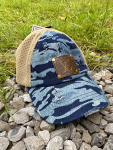 Blue Camo LV Patch Distressed Mesh Back PonyCap - Jessi Jayne Boutique