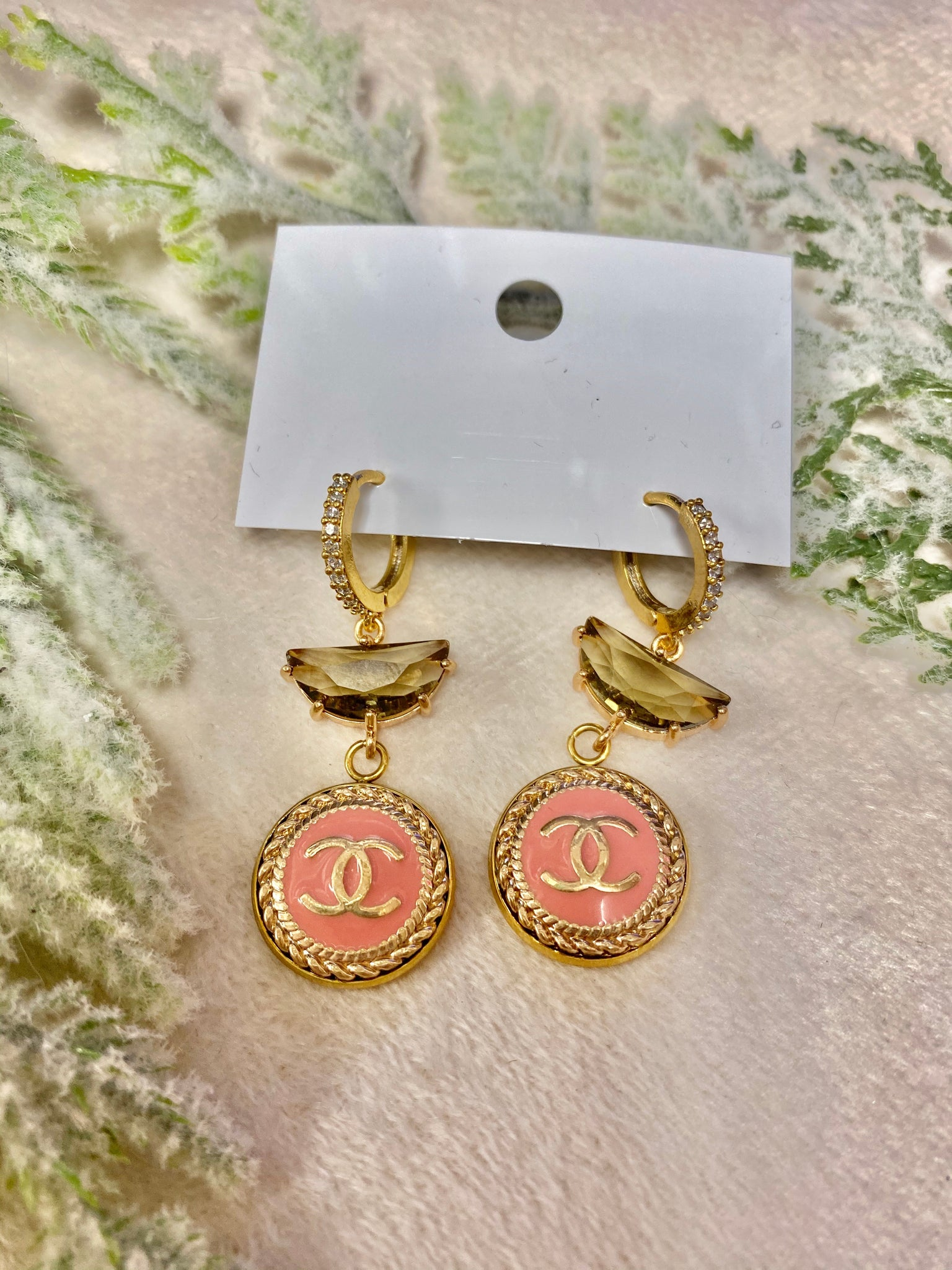 Vintage Chanel Pink & Diamond Hook Earrings with Champagne Stones