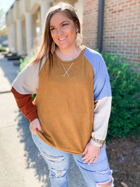 Hay There Mustard Color Block Curvy Long Sleeve Top