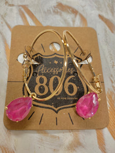 Gold Hoop Pink Teardrop Earrings