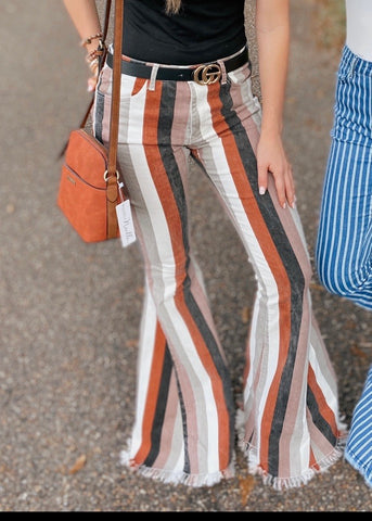 Don't Be Latte Brown Multi Color Stripe Flares