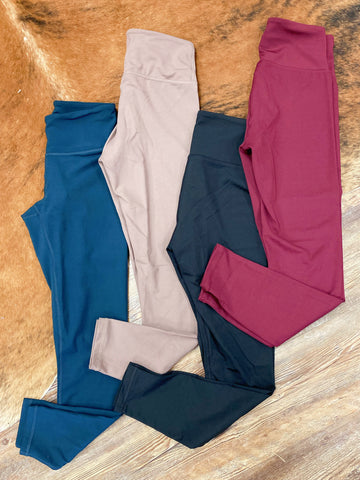 Oh So Soft Full Length Wide Waist Band Leggings 4 Colors (Reg&Curvy)