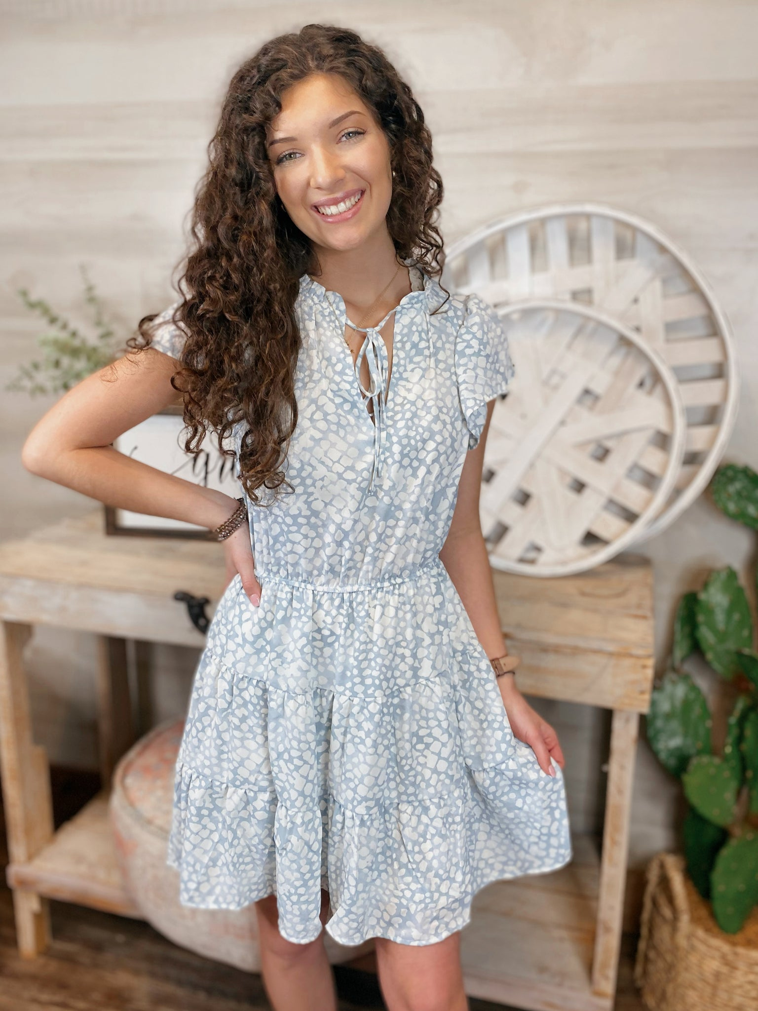 Magic Moments Spotted Flutter Sleeve Dress (2 colors)