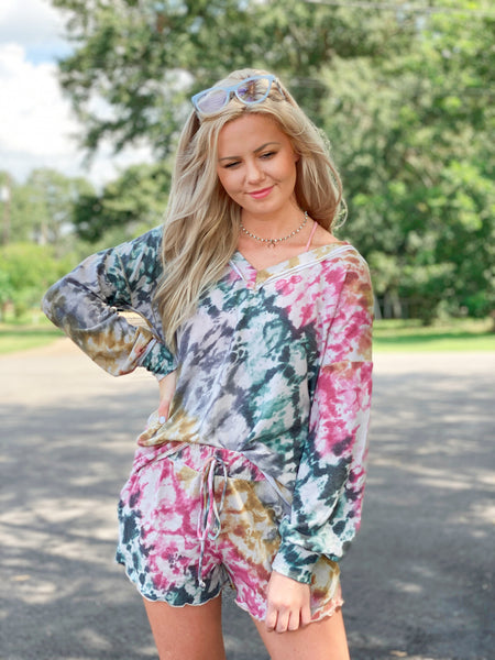 Pink Canopy Long Sleeve Shorts Two Piece Regular & CURVY