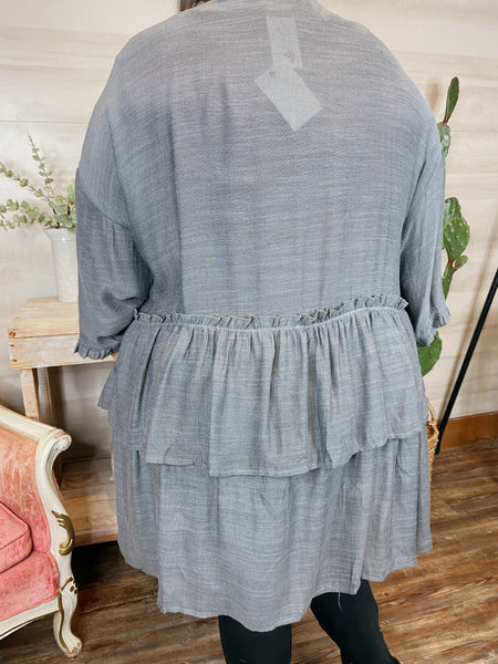 The Coast Is Clear Grey Tiered Flowy Kimono