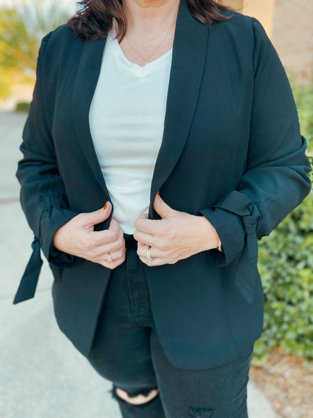 I Owe You Black and Lavender Curvy Blazer