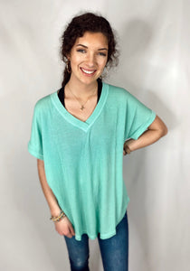 Summer Rain Ribbed Lightweight Mint Top