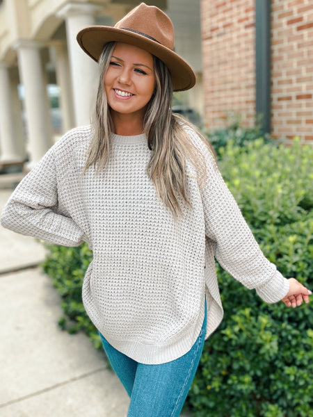 Better Bundled Up Cable Waffle Knit Sweater (2 Colors)