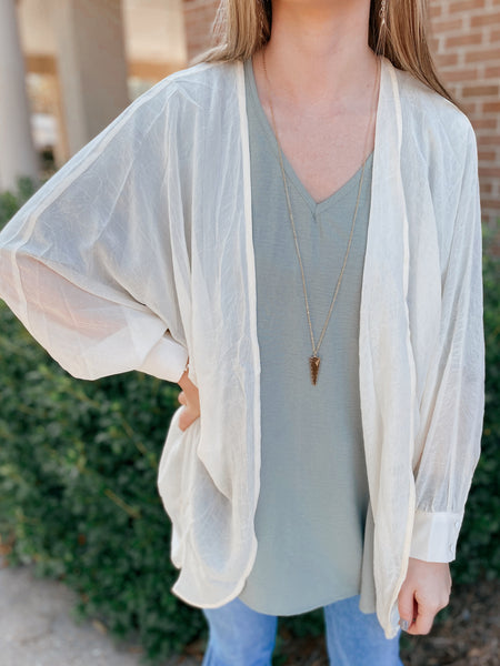 Egg White Voluminous Sheer Cardigan