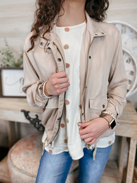 Stand By Me Button and Zip Khaki Jacket