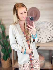 Burn Out Khaki Linen Blazer