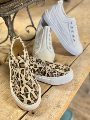 Children's Fierce Sneaker In White & Leopard - Jessi Jayne Boutique