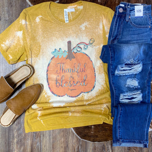 Thankful & Blessed Bleached Mustard Graphic Tee - Jessi Jayne Boutique