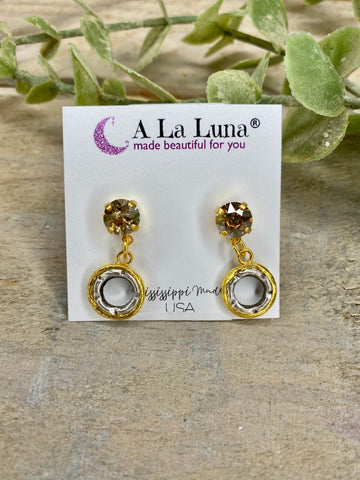 Mixed Metals A La Luna Earrings with Champagne Stud