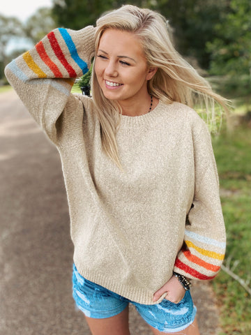 Natural Stripe Bubble Sleeve Sweater